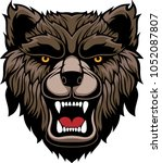 angry brown bear head mascot.... | Shutterstock .eps vector #1052087807