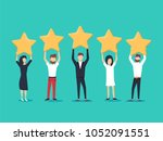 five stars rating flat style... | Shutterstock .eps vector #1052091551