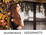 luxurious long haired girl in a ... | Shutterstock . vector #1052094575