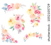 collection of hand painted... | Shutterstock . vector #1052105729