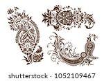 set of monochrome butas.... | Shutterstock .eps vector #1052109467