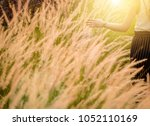 woman touching a grass in the... | Shutterstock . vector #1052110169
