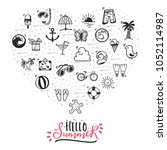a set of summer icons. hello... | Shutterstock .eps vector #1052114987