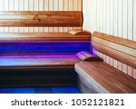 luxury wooden bathhouse with a... | Shutterstock . vector #1052121821