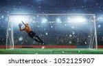 soccer game moment  on... | Shutterstock . vector #1052125907