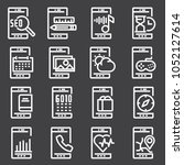 vector white mobile apps icons... | Shutterstock .eps vector #1052127614