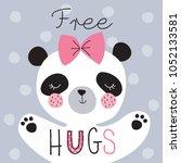 cute panda animal vector... | Shutterstock .eps vector #1052133581