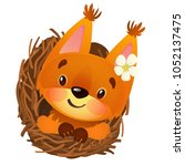 cute animated squirrel smiling... | Shutterstock .eps vector #1052137475