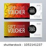 gift voucher design template.... | Shutterstock .eps vector #1052141237