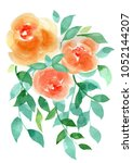 watercolor bouquet with 2 red... | Shutterstock . vector #1052144207