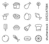 thin line icon set   donut... | Shutterstock .eps vector #1052147084