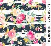 watercolor flower seamless... | Shutterstock . vector #1052153741
