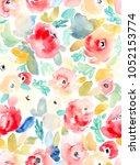 watercolor flower seamless... | Shutterstock . vector #1052153774