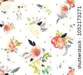 watercolor floral pattern | Shutterstock . vector #1052173271