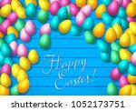easter frame with shiny... | Shutterstock .eps vector #1052173751