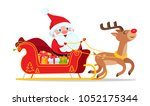 Santa Riding In Sleigh With...