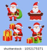 santa clauses set of icons.... | Shutterstock .eps vector #1052175371