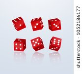dice of red color in different... | Shutterstock .eps vector #1052186177
