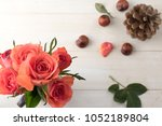 Red Roses With Pine Cone And...
