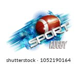 pattern design with rugby ball  ... | Shutterstock . vector #1052190164