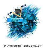 hockey  crossed hockey sticks... | Shutterstock . vector #1052190194