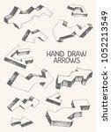 set of 11 gray vector arrows... | Shutterstock .eps vector #1052213549