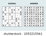 vector sudoku with answer 134.... | Shutterstock .eps vector #1052215361