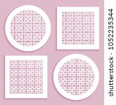 round and square line patterns  ... | Shutterstock .eps vector #1052235344