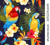 seamless macaw and flowers | Shutterstock .eps vector #1052241644