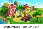 vector illustration. farm with... | Shutterstock .eps vector #1052248514