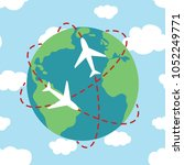planet earth airplane route... | Shutterstock . vector #1052249771