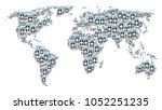 continental map collage...   Shutterstock .eps vector #1052251235