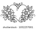 tattoo pink heart decorated... | Shutterstock .eps vector #1052257001