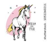 portrait of a magical unicorn... | Shutterstock .eps vector #1052260211