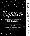 eighteen invitation card. 18th... | Shutterstock .eps vector #1052263994