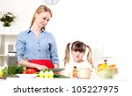 mother and daughter cooking... | Shutterstock . vector #105227975