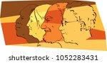 profiles of senior people of... | Shutterstock .eps vector #1052283431