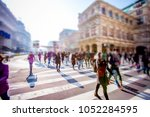 crowd of anonymous people... | Shutterstock . vector #1052284595