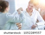 happy employees are happy with... | Shutterstock . vector #1052289557