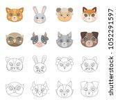 owl  cow  wolf  dog. animal...   Shutterstock .eps vector #1052291597