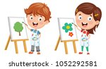 vector illustration of kids... | Shutterstock .eps vector #1052292581
