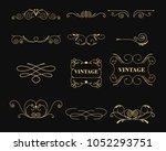 Vector illustration set of vintage graphic elements for decoration on black background. Emblem, heraldic monogram. Calligraphic floral design. Gold frames.