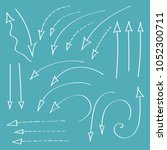 set of hand drawn arrows made... | Shutterstock .eps vector #1052300711