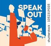 man holds a loudspeaker in hand.... | Shutterstock .eps vector #1052319335