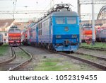 view on the railway track with... | Shutterstock . vector #1052319455