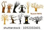 halloween trees  creepy or... | Shutterstock .eps vector #1052332601