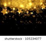 Abstract Gold Stars On Dark...