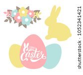 vector set for easter with... | Shutterstock .eps vector #1052341421