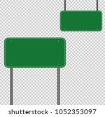 sign road green sign board on... | Shutterstock .eps vector #1052353097
