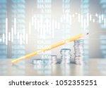 coin stacks   business money... | Shutterstock . vector #1052355251